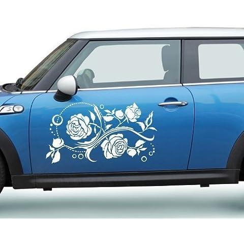 2x Bumper Sticker-fiore-Cirrus cirrus Fiore Fiore Auto Rose Adesivo 5E191 - Lilla lucido, 90cm