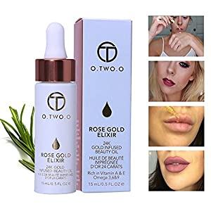 Elixir de oro rosa de 24 quilates de Ropalia, aceite esencial labial antiarrugas con base hidratante para eliminar la piel muerta