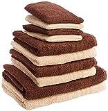 Dream Art Frottier-Pack 3487 Fb. 3711 Handtuch-Set, 10-teilig (2x Duschtuch Größe 70/140, 4x Handtuch Größe 50/100 und 4x Waschhandschuh Größe 16 x 21 cm), beige/dunkelbraun