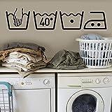Prevently Wandaufkleber PVC Waschmaschine Zeichen Aufkleber Waschmaschine Abnehmbare Art Vinyl Wand Home Room Decor Wandaufkleber Dekoration Wandtattoos Kunst Wandaufkleber (Schwarz)