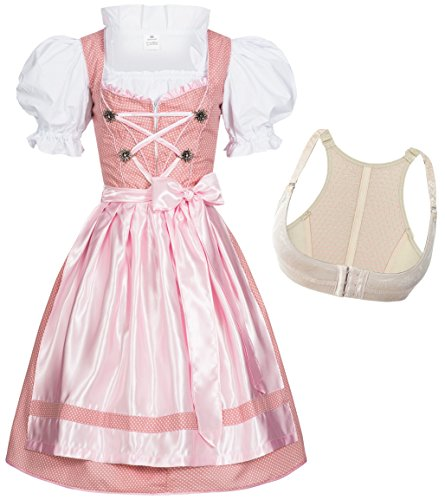 Dirndl Set 4tlg. Dots + Push Up Büstenhebe BH 34 S