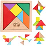 #5: MousePotato 7 pc Wooden Tangram Puzzle with tray Brain Development toy