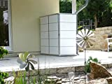 Garten[Q] Teras Gartenschrank, Gartengeräteschrank, Gartenbox, HPL-Trespa, wetterfest mit Zugriff von 2 Seiten links geschlossen, breites Streifendesign - 4