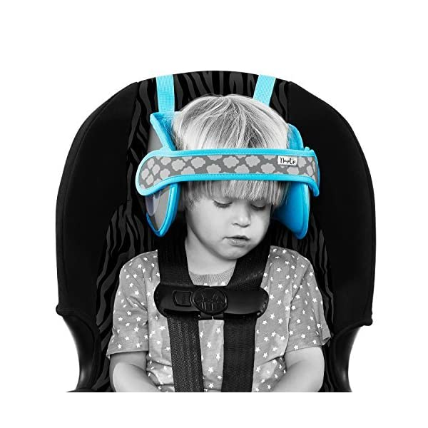 Napup Child Head Support: Sleep Comfortably On The Go, Blue Nap Up Soft head support device, that stops children's heads from bobbing when they fall asleep on the go Simple to assemble and easily connect to any car seat or high-back booster (suitable for front facing seats only) Adjustable head strap to support all ages and sizes without any discomfort 1