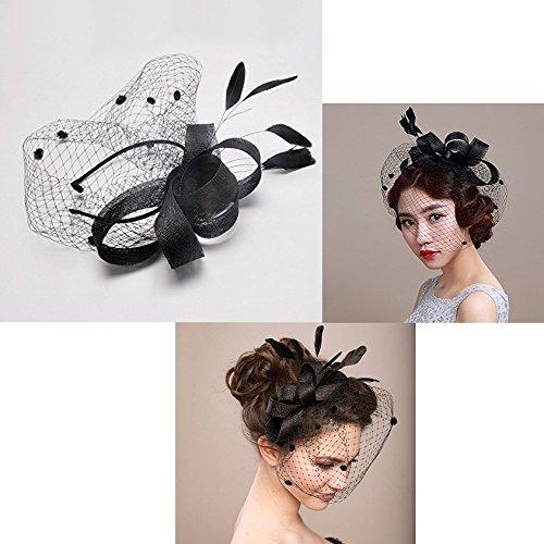 Itian Damen elegante Feder Haarclip Hut Hochzeit Cocktail Mesh Net Schleier Stirnband (schwarz) (Schleier Stirnband Schwarzer)