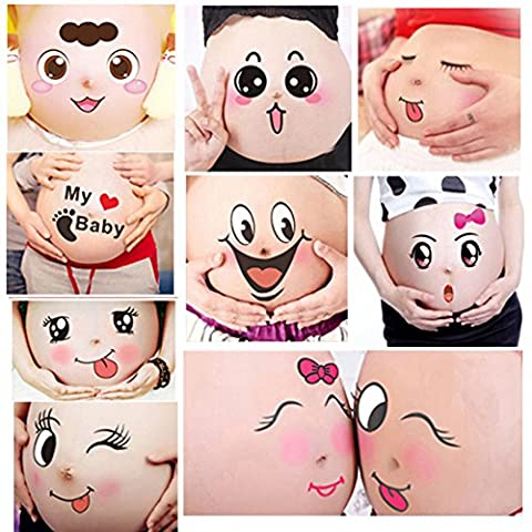TAFLY 10 Sheets Facial Expressions Pregnancy Baby Bump Belly Stickers