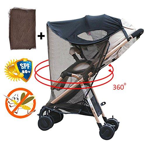 Su-luoyu Kinderwagen Sonnenschutz mit Moskitonetzen Universal Baby Sonnenverdeck für Autositz & Kinderwagen | Pop-Up Sonnendach mit UV Schutz mit Moskitonetzen (Universal Pop-up-shade)