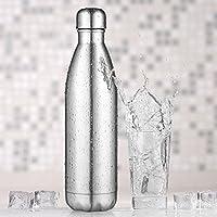 AuPower 1000ML Bouteille d'eau en acier inoxydable bouteille isotherme Bouteille de sports chaude et froide extérieure portative de preuve isolée par vide de double mur de mur