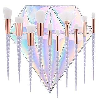 Switty – Juego de 10 brochas de maquillaje de unicornio para base de maquillaje profesional, crema de polvo, con bolsa de diamante (pelo blanco)