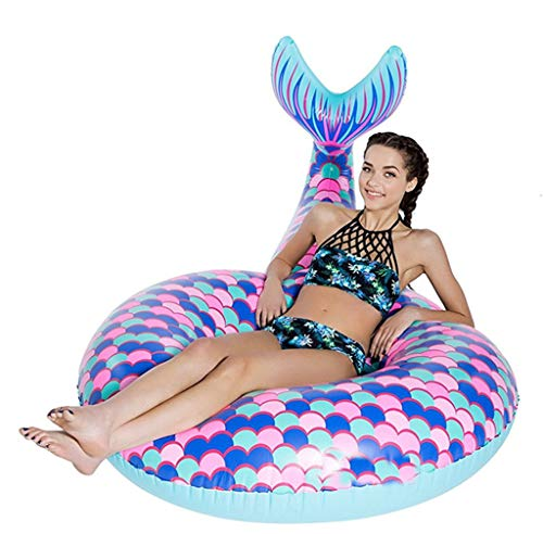 Dosnvg - anello gonfiabile a forma di coda di pesce, per piscina, galleggiante, per adulti o bambini