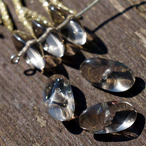 Gris clair Grande Hélice tchèque Perles de Verre Gris Verre Gris Perle Ovale Perle tchèque Gris des Perles de Grand Ovale Perle de 15mm x 7mm 8pc