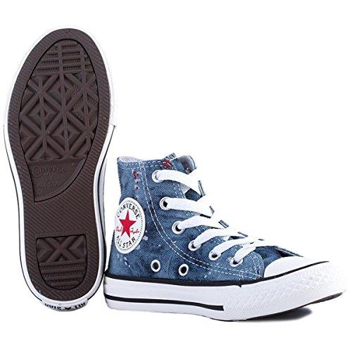 CONVERSE - Baskets bleues à lacets, en jeans, logo latéral et à l'arrière, lacets blancs, enfant (garçon ou fille) adulte (homme ou femme)-29
