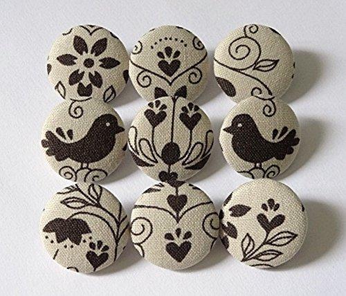 9 Stoffknöpfe 23mm Vogel_Ornament Mix -