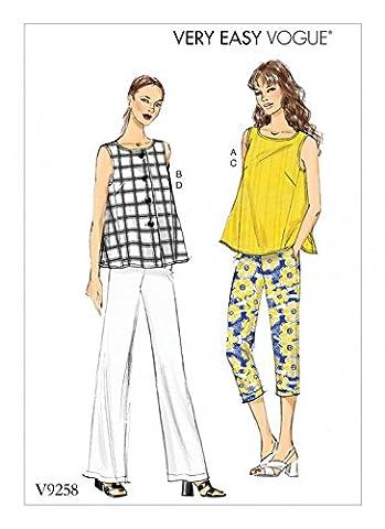 Vogue femmes Patron de couture facile 9258sans manches TOPS et tirette sur le Pantalon