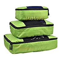 Hopsooken Packing Cubes System - 3 Pieces Sets Travel Luggage Packing Organizers (Green)
