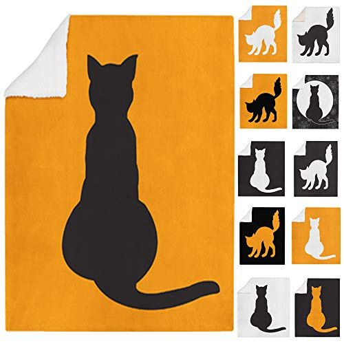 Adam Home 3D Digitaldruck drucken weichen Sherpa Halloween Fleece Decke Bett wirft & Couch - Cat Theme - Halloween Cat Sitting Black On Orange Blanket - Large - 150 x 200cm (Kobold Halloween-kostüme Für Babys)