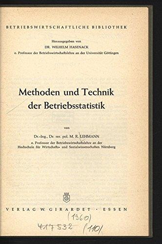 Methoden und Technik der Betriebsstatistik