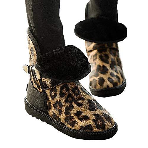 Geili Stiefeletten Damen Kurzschaft Warme Gefüttert Winterstiefel Schneestiefel Leopard Muster Ankle Boots Ohne Absatz Frauen Modische Übergrößen Schlüpfen Boots Flache Schuhe - Ankle Boots Leopard