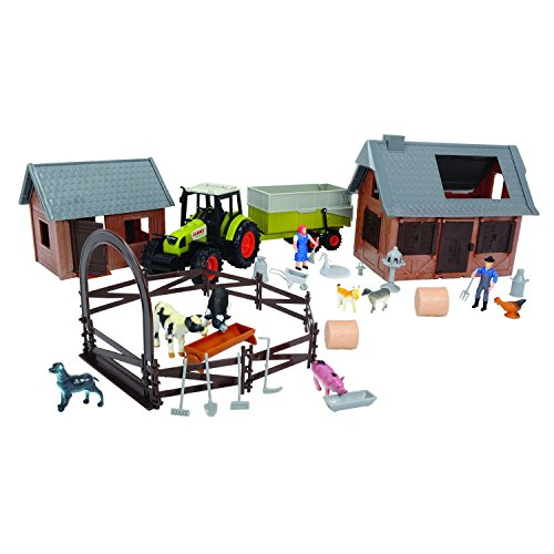 Dickie Toys 203739001 - Playset Claas, Fattoria Set, le auto e il traffico del modello, 72 parti