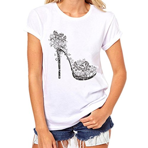 Elecenty Damen Shirt Hemden Strandbluse Tops Bluse Reizvolle Oberteile Kurzarm T-Stücke High Heels Druck Sommerhemd Lose Hemd Blusen Haushemd Damenmode Frauen Blusenshirt Sommerbluse (XL, Weiß 6)