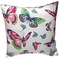 "TryPinky Kissenbezug 40 X 40 cm"" Schmetterlinge auf Weiß"" Pink Butterfly Sommer Frühling Kissenhülle 100 & Baumwolle BW"