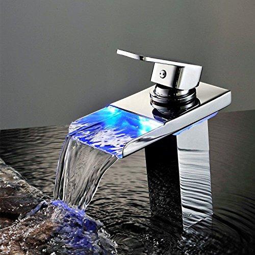 Wasserhahn Liefern (Horleora waschtischarmatur - LED mischbatterie mit 3 Farbewechsel für Bad Waschbecken - Chrom)