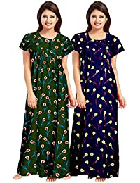 jwf Best Cotton Long 100% Cotton Nighty for Women & Ladies (Multicolor) Combo Pack of 2 Peice Beige