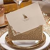 VStoy Laser tarjetas de invitaciones de boda Corte Oro Hollow floral vintage boda Tarjetas de invitación con sobre novio y de la novia de Stock y Seal 20piezas)