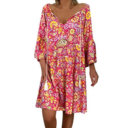 Mehrfarbig Bedruckte Kleider Damen Sommer Grosse Grössen 3/4 Arm Quaste Träger Freizeitkleider Kurz (M, Pink 5425) - Pink Ball Blüte