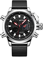 Megir Mens Digital Watch, Analog-Digital Display and Leather Strap - 2090G
