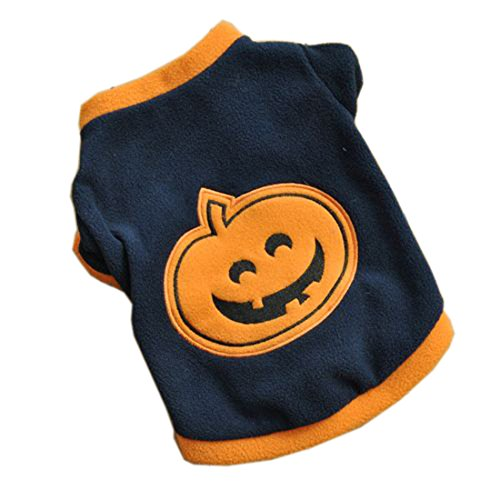 Hund Welpen T-Shirts Fleece warme Kleidung süßes Kleid Halloween Kürbis-Stil, marineblau, S -