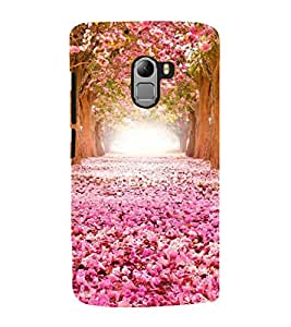 Fuson Premium Back Case Cover Pink Floral With Green Background Degined For Lenovo K4 Note