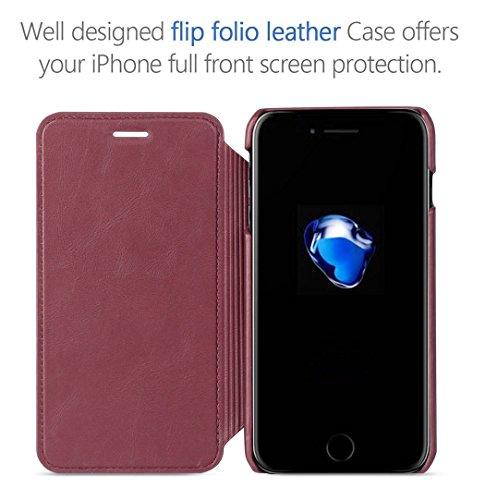 Coque pour iPhone 7 Plus TSCASE Rouge (Etui Range Carte) de Protection Détachable Coque pour iPhone 7 Plus 5.5 pouces Rouge