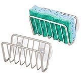 mDesign 2er-Set Schwammhalter Küche mit Saugnäpfen für Spüle - Schwammablage zur praktischen Aufbewahrung von Bürste, Topfschwamm und Seife - Spülbecken Organizer mit Saugnapf - mattsilberfarben
