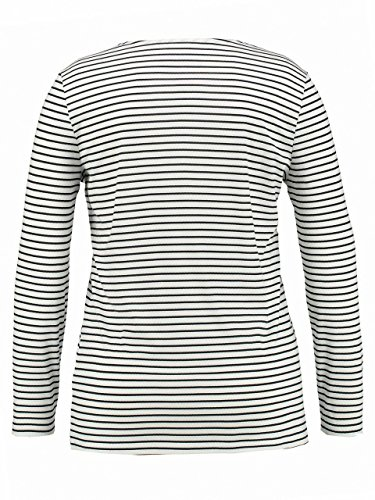 SAMOON Damen T-Shirts Stripe with Graphic Print Offwhite