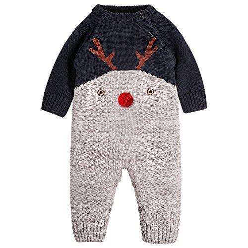 ZOEREA Neugeborenes Baby Mädchen Junge Strick Strampler Watte Weihnachten warme Pullover mit Elch Hirsche Clown Muster für die Saison Frühling, Herbst und Winter (Clown Anzug Muster)