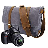 Neue Version-Gute Qualität--90 Tage Garantie-Vintage Wasserdicht Kameratasche   Fototasche für DSLR SLR-Kamera Laptopfach Kann einen 15-15.6 Zoll Computer tragen