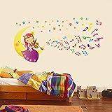 ufengke® Mignon Petite Fille Jouant de la Musique Sur le Bricolage de Bande Dessinée de Lune Stickers Muraux, la Chambre des Enfants Pépinière Autocollants Amovibles