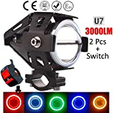 Generic LED 15W Driving Fog Light with Extra Red Ring Light for All Motorcycles, Bikes/Cars, with a Switch - Pack of 2