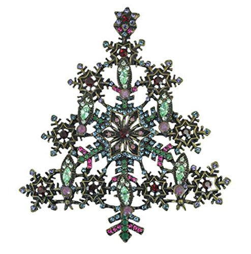 es Design Antik Bronze vergoldet Metall Schneeflocke Brosche Weihnachtsbaum Pins (Schneeflocke-pin)