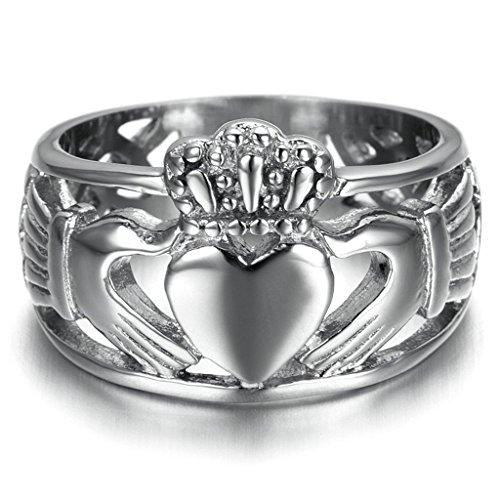 Bishilin Edelstahl Dreieinigkeit Band Hochzeitringe Claddagh Ring Für Damen und Herren Größe 65 (20.7) (Männer Claddagh Ringe Für)
