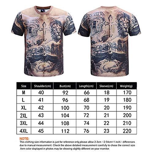 009c0f559 Mode Rundhals Pullover Herren T-Shirt Lion Muscle Tattoo 3D Print Kurzes  Hemd(M