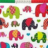Elefant Bunt 100% Baumwolle Baumwollstoff Kinder Kinderstoff Meterware Handwerken Nähen Stoff Tiermotiv 100x160cm 1 Meter (Elefanten Rot Bunt)