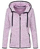 Stedman Strickfleece-Jacke mit Kapuze für Damen, für Sport, Freizeit & Wandern, Premium Qualität Active Outdoor, Purple Melange, M