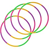 com-four® Set of 4 - Hula-Hoop Mating Ring, Green, Purple, Pink, Orange