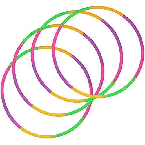 com-four® 4er Set - Hula-Hoop Ring zum Zusammenstecken, Grün, Lila, Pink, Orange