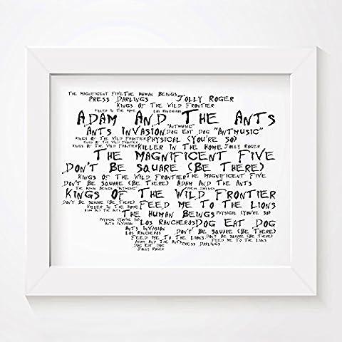 'Noir Paranoiac` Poster Affiche d'art - ADAM AND THE ANTS - Kings Of The Wild Frontier - Edition signée et numérotée limitée typographie non encadré 20 x 25 cm la musique album mur art haute qualité d'impression - Song lyrics music poster