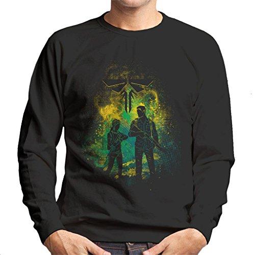Cloud City 7 The Last of Us Joel and Ellie Outline Men's Sweatshirt (Last Us The Clicker Of)