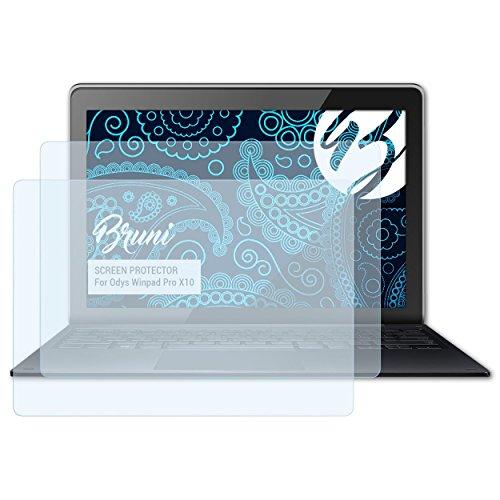 Bruni Schutzfolie für Odys Winpad Pro X10 Folie, glasklare Bildschirmschutzfolie (2X)