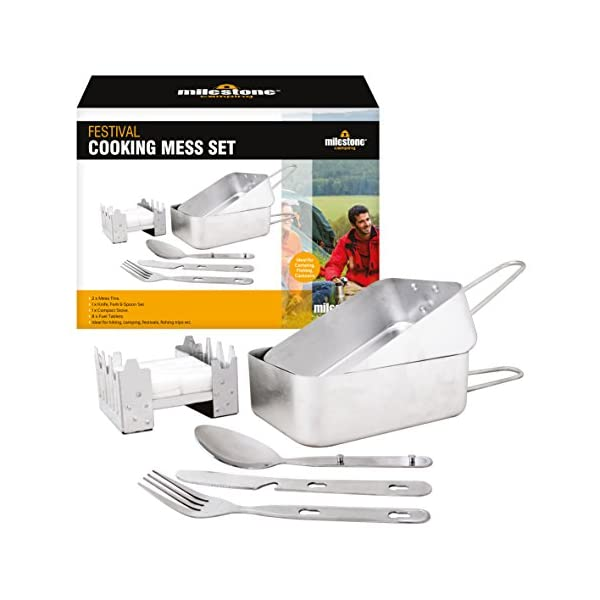 Milestone Camping 66000 Festival Cooking Set Folding Solid Fuel Stove Fork Knife Spoon 2 x Mess Tins, Silver 1